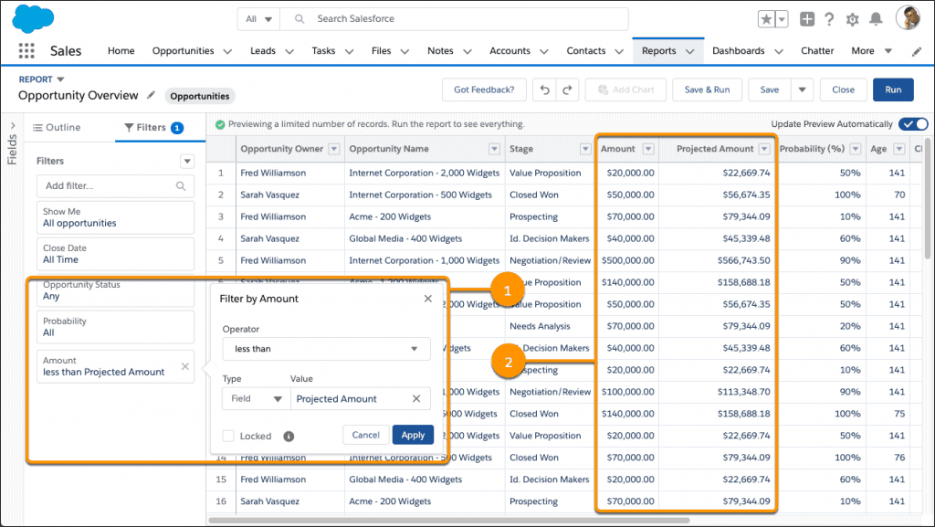 Salesforce Spring 2020 Release Highlight: Feld zu Feld Filter in Berichten
