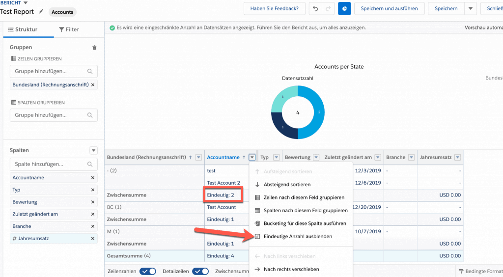 Salesforce Spring 2020 Release Highlight: Eindeutige Anzahl in Berichten