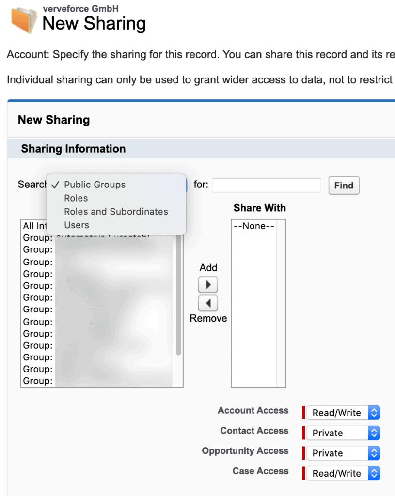 Manual Sharing für Accounts.