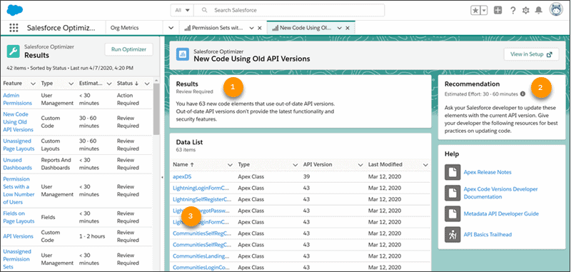 Salesforce Lightning Optimizer App mit Ergebnissen.