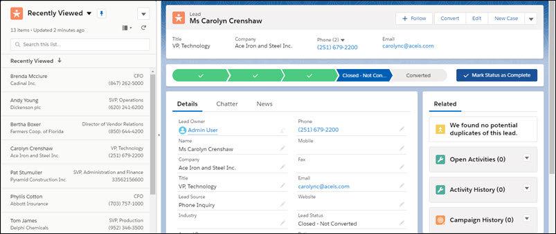 Split-View-Listenansicht mit ausgewähltem Datensatz im Salesforce Summer 20 Release