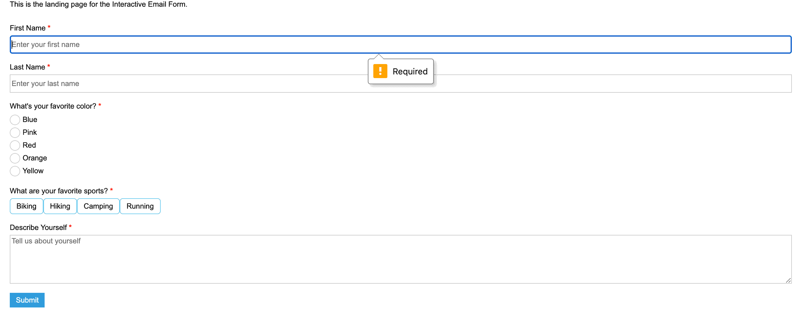 Interactive Email Landing Page mit Web-Formular