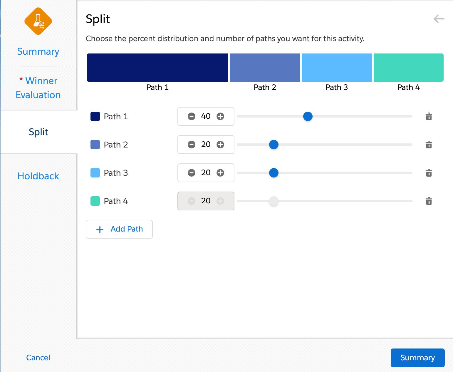 Beispiel: Aufteilung in 4 Pfade mit unterschiedlicher Gewichtung