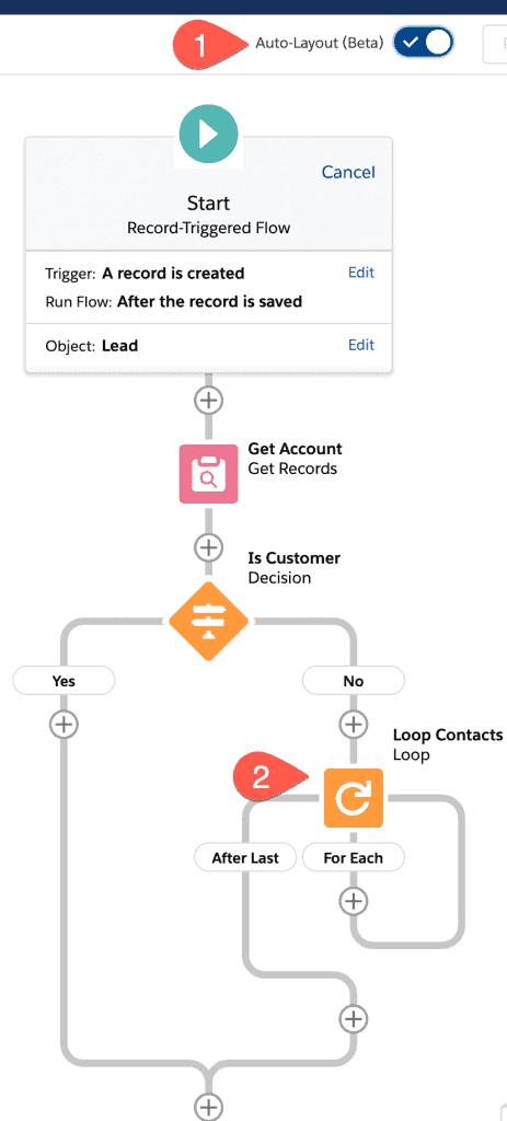 Flow Builder Auto Layout im Salesforce Winter 21 Release