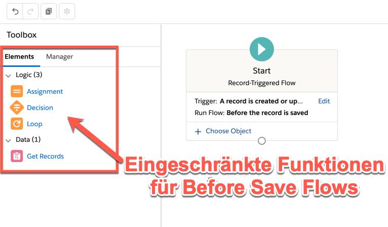 Before Save Flows: Eingeschränkte Funktionen.