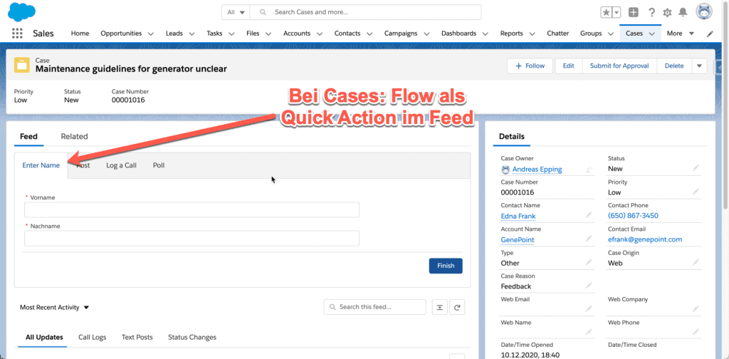 Bei Cases: Flow als Quick Action im Feed