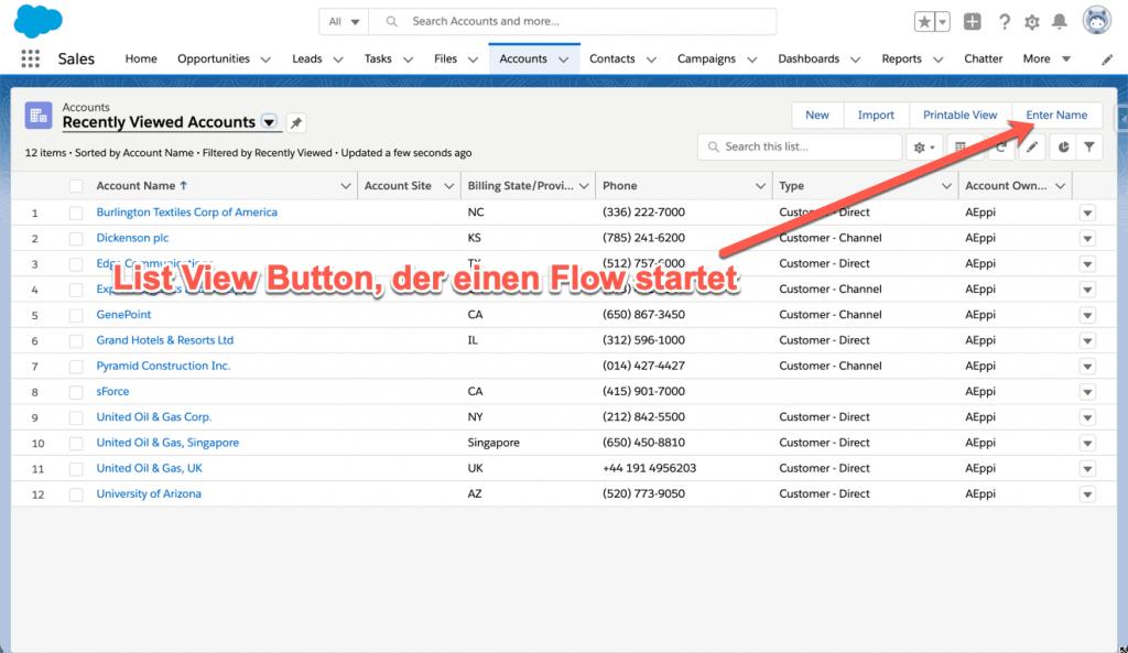 List View Button startet einen Salesforce Flow