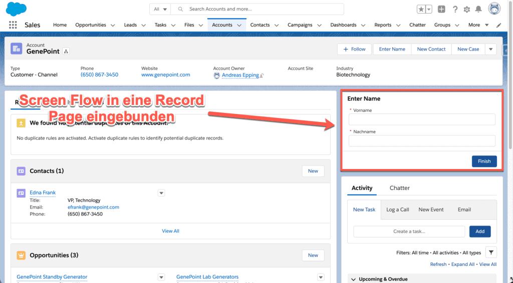 Screen Flow in eine Record Page eingebunden