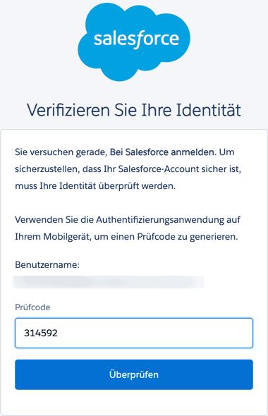 Salesforce MFA Einmal-Passwort eingeben.