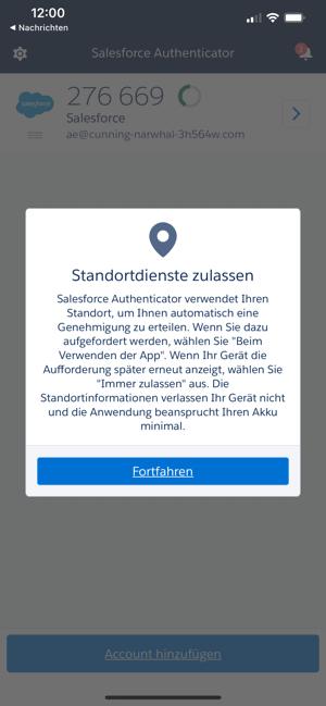 Salesforce Authenticator App Standortdienste zulassen.