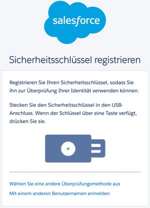 Salesforce Multi-Factor Authentication Security Key registrieren.