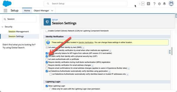 Salesforce Multi-Factor Authentication Security Keys erlauben.