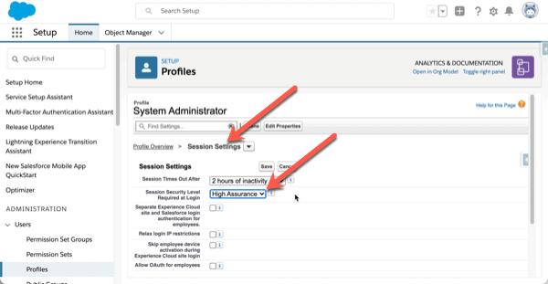 Salesforce Multi-Factor Authentication Anpassung von Standardprofilen.